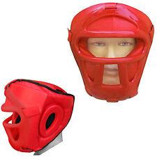 REX in pelle testa Guardia Protector CASCO FACE Guard CON VISIERA BAR ROSSO