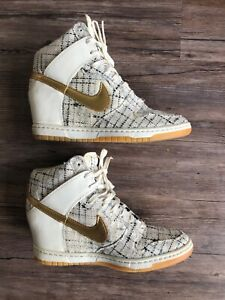 authentic utterly stylish cheapest price Nike Dunk Sky Hi City Paris Fashion Week Sail Metallic Gold Wedge ...