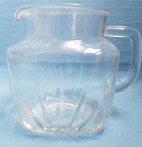 Federal-Glass-Crystal-Clear-36oz-Pitcher-Container-Fan-amp-Star-Design-Mid-Century