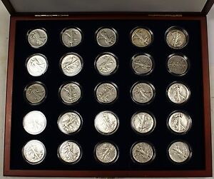 Collection-of-25-Silver-Walking-Liberty-Half-Dollars-In-Presentation-Case-W-COA