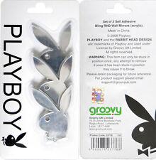 3 Kleine Playboy Deko Spiegel Silber mit Strass Schleife NEU+OVP 23776