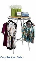 Retail Chrome Round Display Clothing Rack With Adjustment Leg 36 Inch
