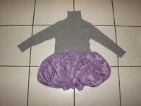 TRAUM BALLON Kleid Tunika 98 langarm Rolli Mädchen Strick grau lila TOP