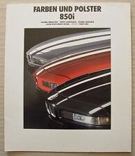 BMW 850i Car LF Colours & Upholstery Brochure Jan 1990 #011080370 1/90VM