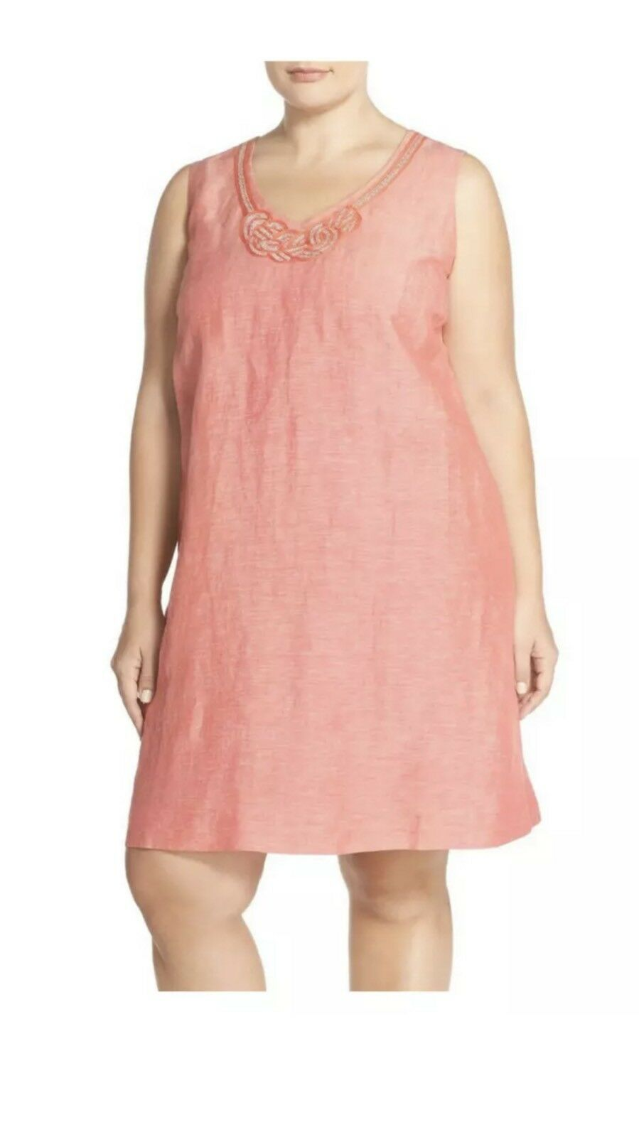 Nic + Zoe Jetset Spice Rose Mix Linen Blend Embellished Sleeveless Dress 3X q42