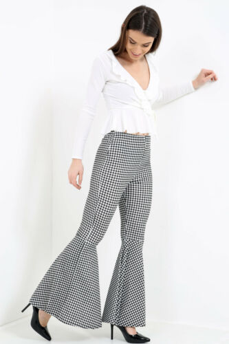 Ladies Womens Bell Bottom Checked Flared Frill Hem Trousers High Waist Pants