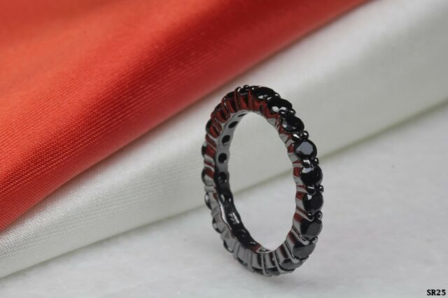 Round Cut Black on Black Sterling Silver 925 Gothic Wedding Band Eternity Band