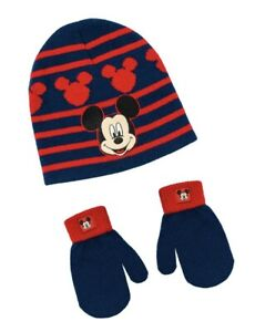 NEW-Disney-Junior-MICKEY-MOUSE-HAT-BEANIE-AND-GLOVES-Set-Toddler