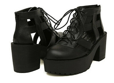 Gladiator Punk Goth Platform Chunky Block Heels Lace up Zip Sandals Ankle Boots