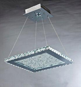 Modern-Crystal-LED-Ceiling-Pendant-Light-Chrome-Square-Hanging-Light-Lamp-NEW