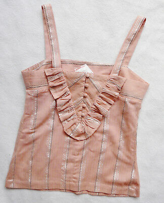 BNWT NEXT NEW ladies dusky pink cotton summer ruffle relaxed cami  top size 6 P