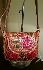 Authentic handmade hand tooled 100% leather purse with traditional  flowers