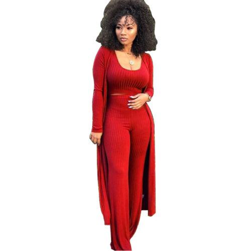Womens Knitted 3-piece Set Long Sleeve Cardigan Coat Crop Top High Waist Pants