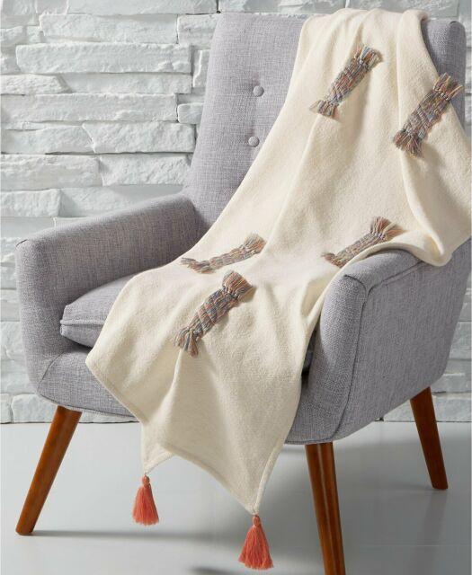 Martha Stewart Whim Rainbow Throw Blanket Tassel Accents $100