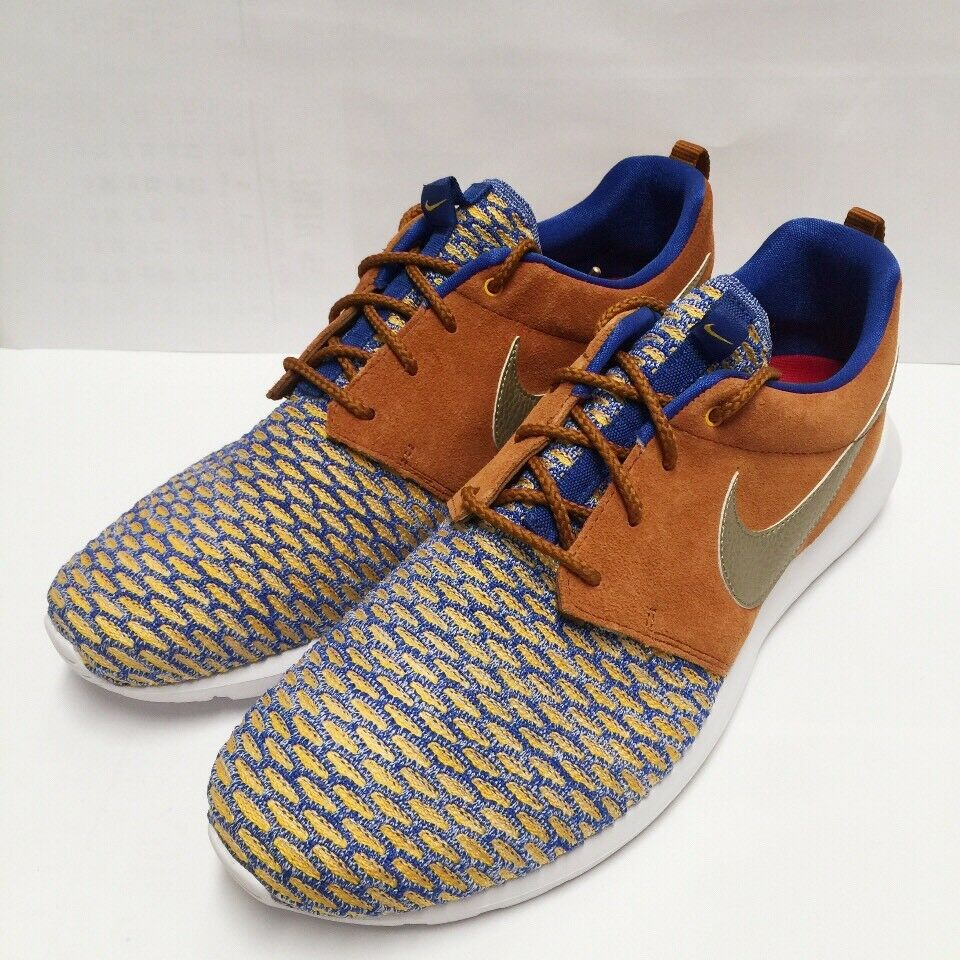 Nike Roshe NM Flyknit Tawny PRM Premium Game Royal Metallic (746825-402) SZ 10.5