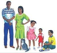 African American Family Bulletin Board Cut Out, New, Free Shipping