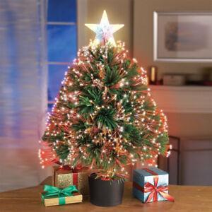 image is loading mini lighted christmas tree 19 034 tabletop fiber - Mini Pre Lit Christmas Tree