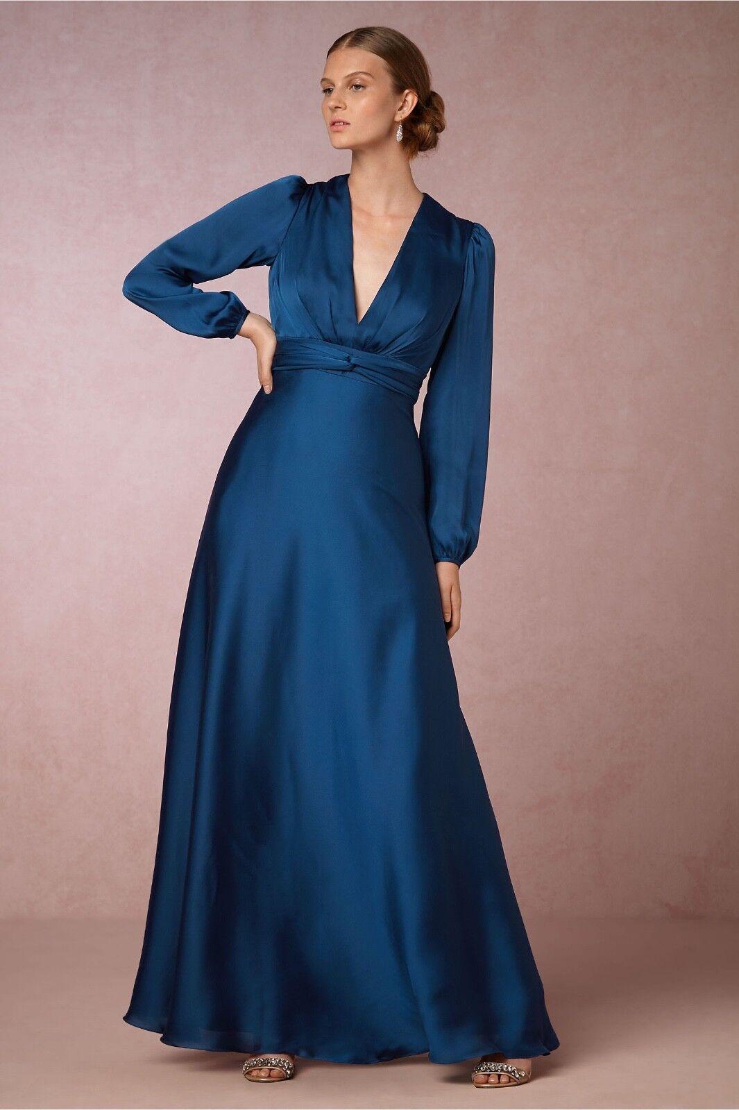 Nuovo Nuovo Nuovo Donna Morgan Bhldn Henrietta Manica Lunga Abito di Raso Fascia Sz 4 Blu f70f80