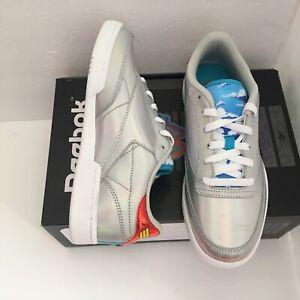 Reebok Club C Wonder Woman Silver Athletic Shoes GS Size 7 Womens 8.5 NWT