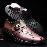 Mens Leather Slip On Loafers Casual Strap Buckle Formal Dress Shoes Plus US 12