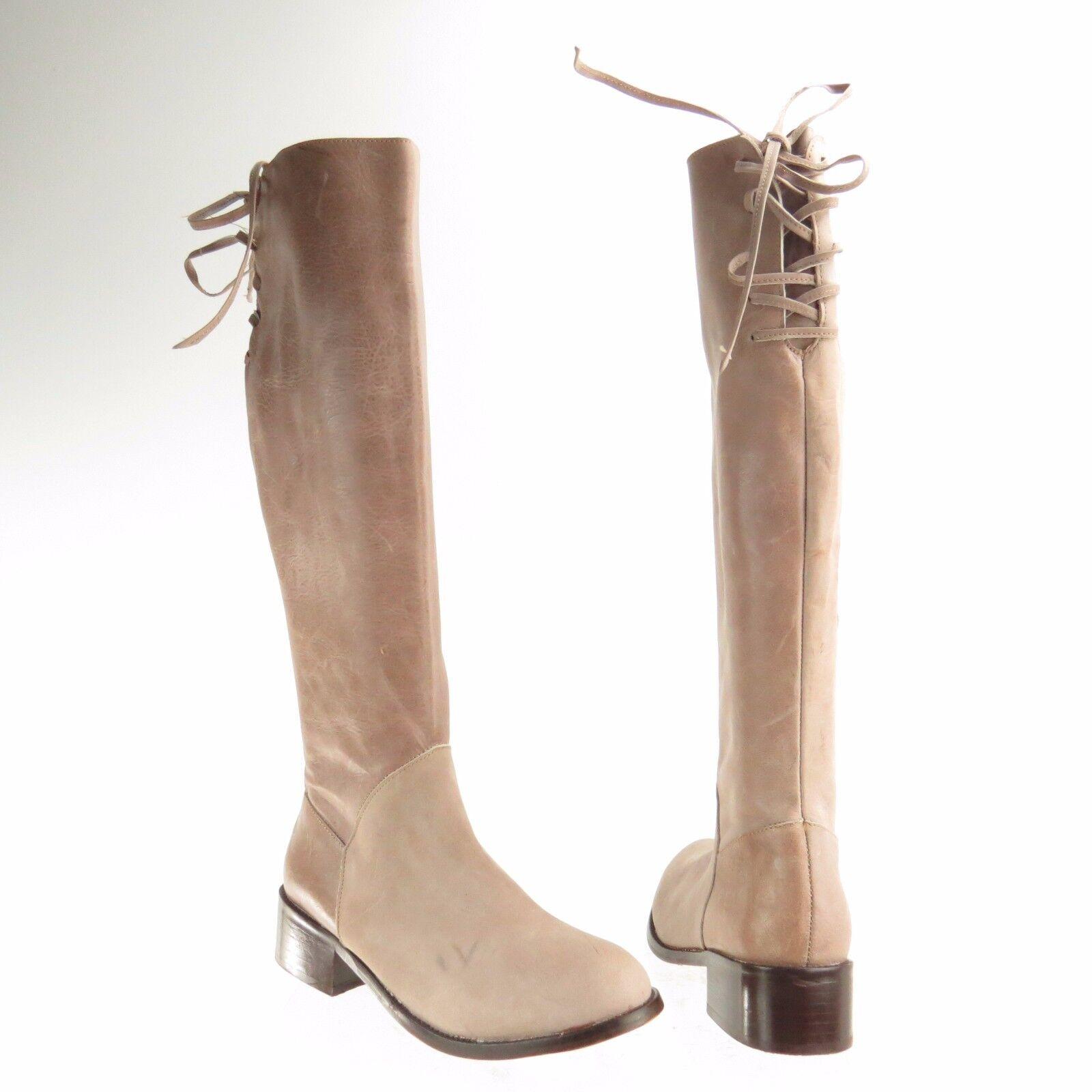 Damenschuhe Patron Perugia Stiefel Stina Schuhes Beige Leder Knee High Stiefel Sz 8 M NEU