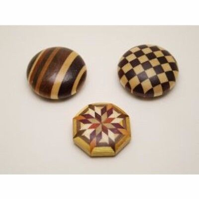 Other Asian Antiques Antiques Hakone Yosegi Zaiku Marquetry Parkett Magnet Kreis 3 Stück Set E0091 Japan F/s