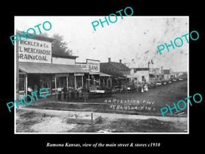OLD-LARGE-HISTORIC-PHOTO-OF-RAMONA-KANSAS-THE-MAIN-STREET-amp-STORES-c1910