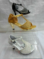 GIRLS T-BAR PARTY SANDALS,DIAMANTE DETAIL,ANKLE STRAP,GOLD BLACK SILVER FROM 6-3