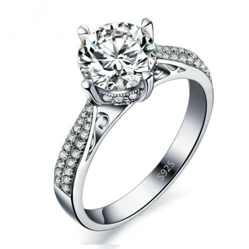 Silver Plated Crystal Topaz Gemstone Women Wedding Engagement Band Ring Jewelry