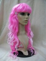 Mixed Pink Long Layers Glamour Witch Wig W Spiders Goddess Candyland Miss Muffet