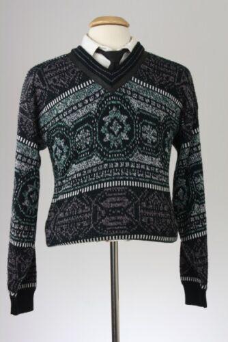 Vintage 80s Knit Cosby 100% Acrylic V-Neck Sweater M USA