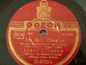 Praktisch Zarah Leander Yes Chanson Ufa Tonfilm Odeon Schellackplatte 78rpm Record+ Sir Angenehm Zu Schmecken