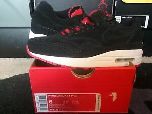 Womens Nike Air Max 1 PRM Premium Suede Fur Black Action Red 90 95 ... c71e7bfebf