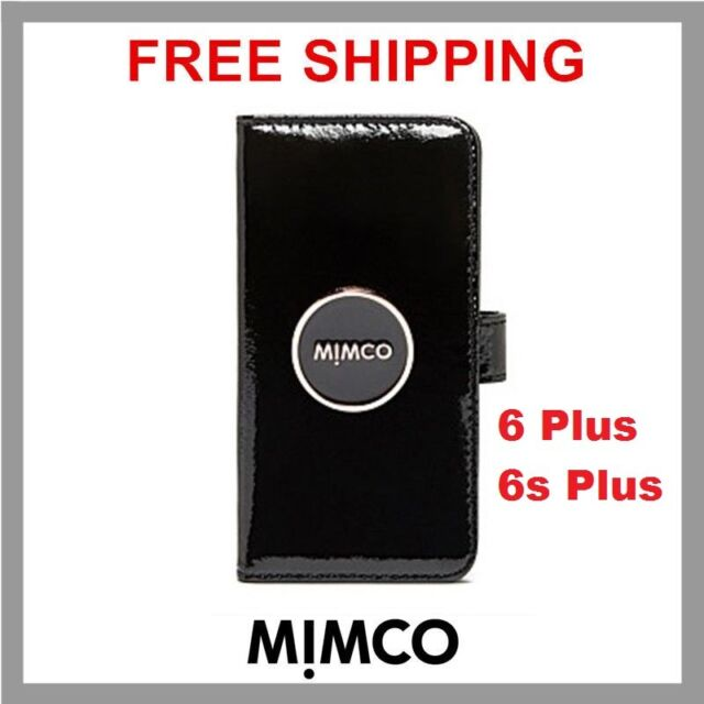 quality design cfc5b be7f9 Mimco iPhone 6 6s Black Patent Leather Magnetic Flip Case Wallet Cover