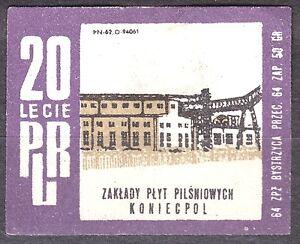 POLAND-1964-Matchbox-Label-Cat-Z-549I-20th-PRL-Fountain-Plates-Koniecpol
