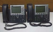 Lot Of 2 Cisco Business Office Voip Unified Ip Phone 7961g Withhandset Cp 7961g