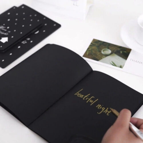 56K Black Paper Graffiti Notebook Sketch Book Diary For Painting Notepad Drawing