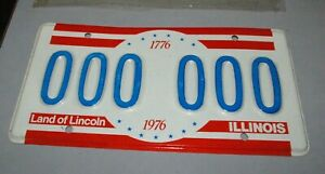 1976-Illinois-Bicentennial-License-Plate-000-000-Test-Plate-in-Orig-Shrink-wrap