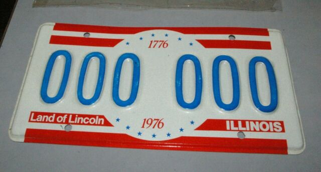 1976 Illinois Bicentennial License Plate 000-000 Test Plate in Orig Shrink wrap