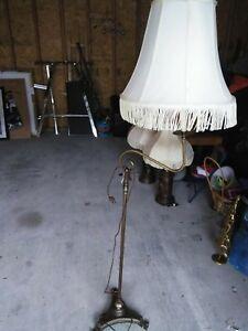 Details About Antique Vintage Cast Wrought Iron Brass Bridge Floor Lamp 60 Tall Works