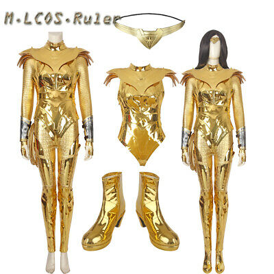 2020 Latest Wonder Woman 1984 Diana Prince Cosplay Costume Halloween Outfit Women/'s Set Golden Battlegear