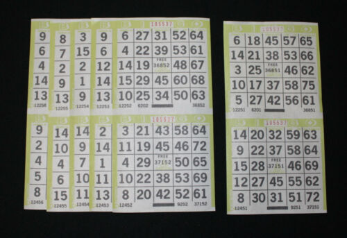 BINGO PAPER Cards 2 on 1 Olive Border 150 sheets  no duplicates FREE SHIPPING