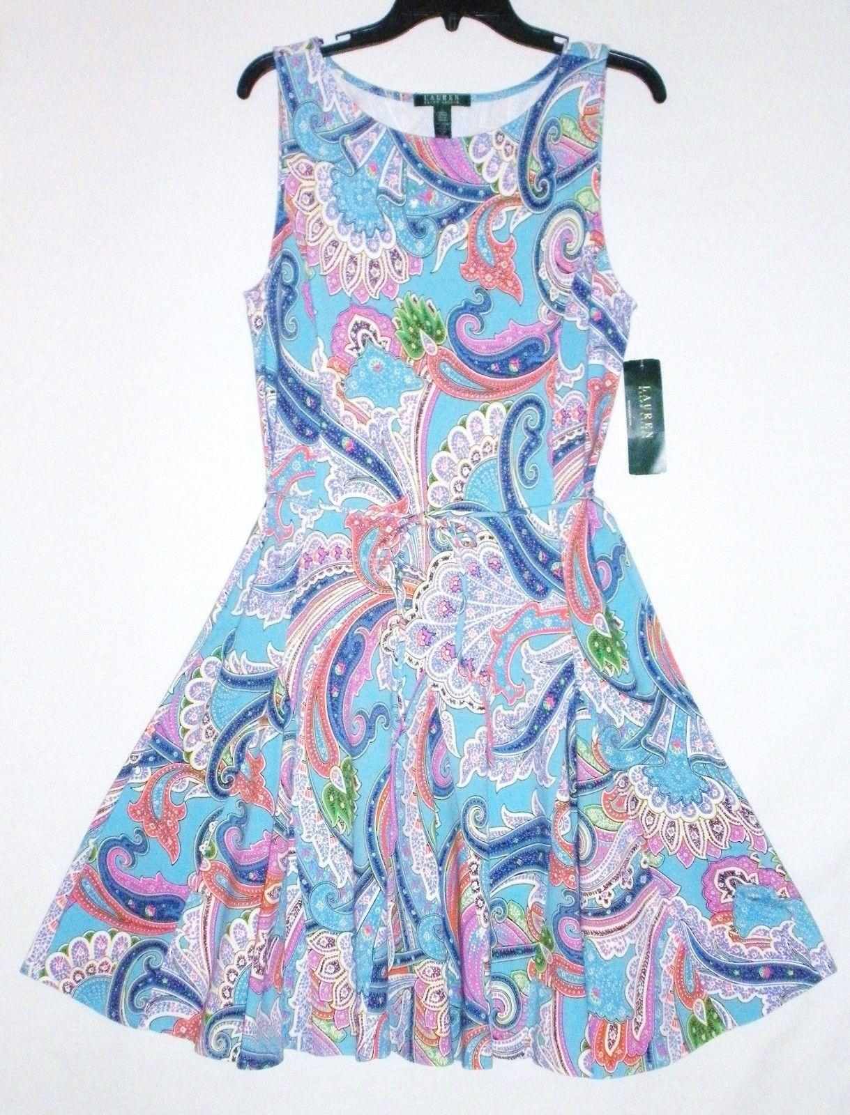 NWT MSRP  LAUREN RALPH LAUREN Paisley Knit Dress, Blau MultiFarbe, S  M   L