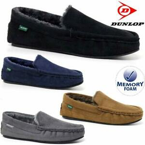 5ee8cca2b27819 Image is loading MENS-MOCCASINS-SLIPPERS-LOAFERS-FAUX-SUEDE-SHEEPSKIN-FUR-