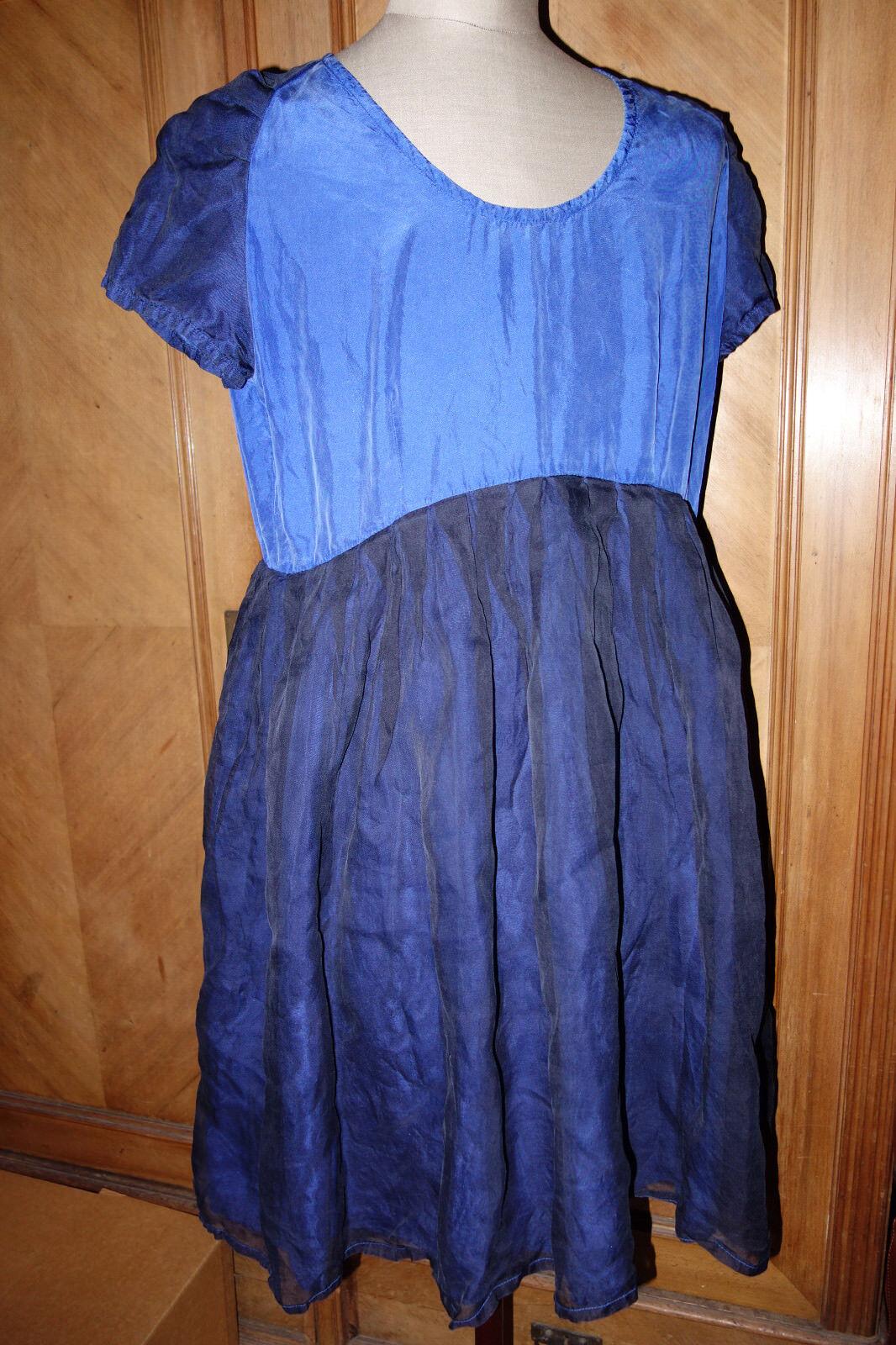 COCON COMMERZ PRIVATSACHEN Tolles Kleid aus Seide königsblau und dunkelblau M-L