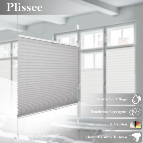 Plissee Jalousie Fensterrollo ohne Bohren Klemmbar Plisee Faltrollo Easyfix grau