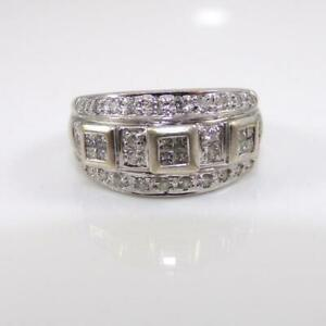 14K-White-Gold-Ring-0-50ctw-Diamond-Cluster-Wide-Band-Size-7-5-LFJ3