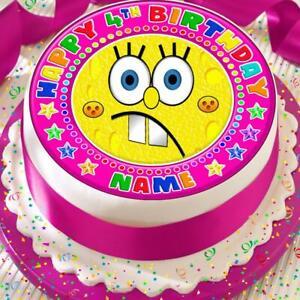Pleasant Spongebob Birthday Pink Personalised 7 5 Inch Precut Edible Cake Funny Birthday Cards Online Alyptdamsfinfo