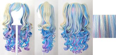 20'' Lolita Wig + 2 Pig Tails Set Pastel Rainbow Mix Blend Cosplay Gothic Sweet