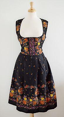 "VINTAGE 1960'S 70'S bavarian PEASANT dress thick cotton FLORAL DIRNDL 12 14 38"""